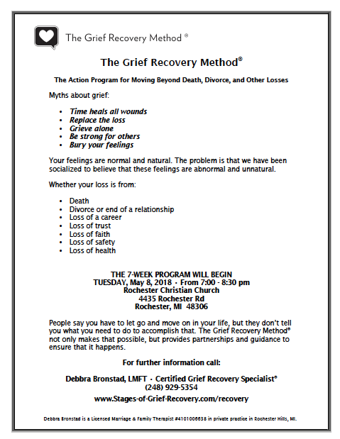 Grief Recovery Method in Rochester Hills